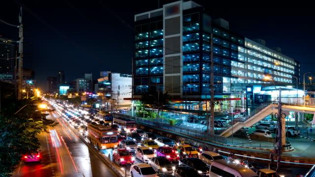 Bangkok Traffic Time Lapse at Subway Train Station