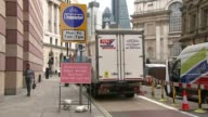 Bank interchange fines make as much as 200000 pounds a day London Bank Road sign 'Buses Cycles only beyond this point' 'No access' road sign 'Mon Fri...