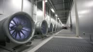 *MUTE* A bank of cooling fans are seen at Facebook Inc's new data storage center near the Arctic Circle in Lulea PAN LR Media stands by cooling fans...