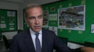 Bank of England Governor signals potential interest rate rise ENGLAND London INT Mark carney interview SOT