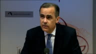 Bank of England quarterly inflation report press conference ENGLAND London Bank of England INT Mark Carney into room accompanied by Paul Fisher...