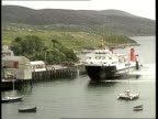 Tarbert LTMS Caledonian MacBrayne ferry towards as approaching quay LGV Loch and hills