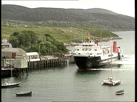 Tarbert LTMS Caledonian MacBrayne ferry towards as approaching quay LGV Loch and hills