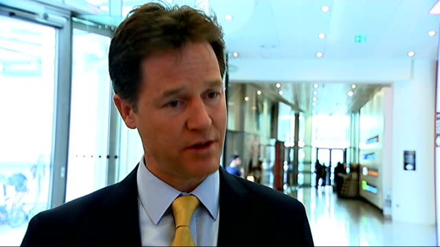 Bank of England warn house market boom is 'biggest risk' to economic recovery London INT Nick Clegg MP interview SOT we have given the Governor of...