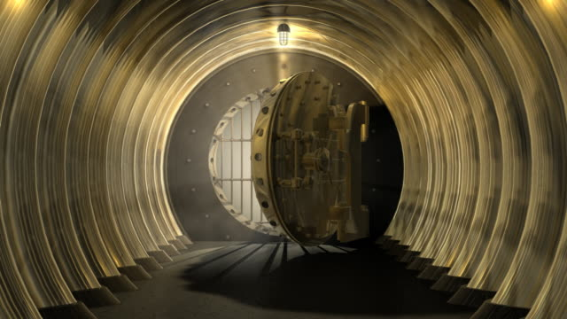CGI WS ZI Bank vault door opening and revealing white interior