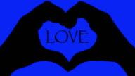 Banner Hände Herz auf der Liebe text blauem Hintergrund