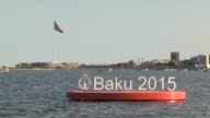 Banners advertising the 1st Baku European Games are seen in Baku Azerbaijan on June 9 2015 Flag of countries are seen ahead of the 1st Baku European...