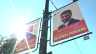 Banners and posters of the presidential and parliamentary candidates are seen on the advertising boards walls bus stops and lamp posts during the...