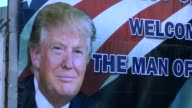 Banners depicting US President Donald Trump and Palestinian President Mahmoud Abbas are seen before US President Donald Trump's visits in Bethlehem...