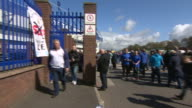 Banners outside Everton's Goodison Park stadium saying 'The Sun not welcome here' after comments made in a column by Kelvin MacKenzie