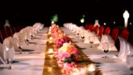 Diner in restaurant banket, tabel decoratie voor een evenement-partij.