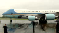 Barack Obama and family arrive in Belfast NORTHERN IRELAND Belfast Aldergrove Airport EXT Plane taxiing / steps being attached to plane / Barack...