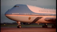 Barack Obama arriving at Stanstead Airport ahead of G20 summit Air Force One taxiing / close up signage on side of plane reading 'United States of...