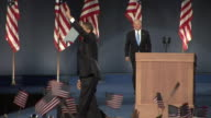 Barack Obama concluding his acceptance speech in Grant Park Chicago and being joined by runningmate Joe Biden on November 4 2008 / United States /...