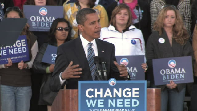 Barack Obama Democratic candidate for US President speaking about taxes John McCain and Joe the Plumber during rally in Ida Lee Park on October 22...
