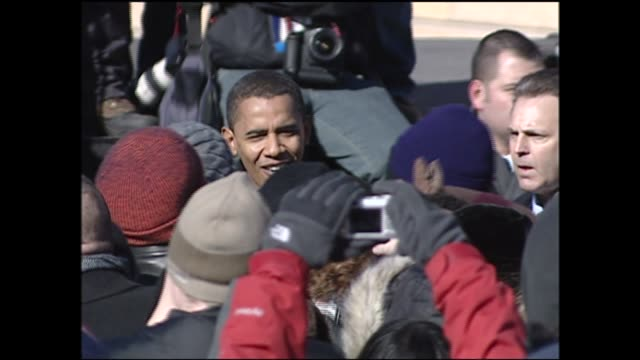 WGN Barack Obama Walks Through Crowd of Supporters After Presidential Campaign Announcement in Springfield Illinois on February 10 2007
