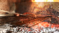 Barbecue Grill, Cooking Sausages, HD Video