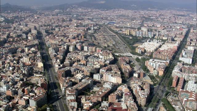 Barcelona In Wide Shots  - Aerial View - Catalonia, Barcelona, Spain