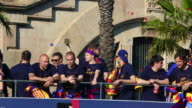FC Barcelona parade through the city as crowds of supporters celebrate their victory in the La Liga BBVA