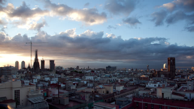 W/S Barcelona roofs and sky, dawn, sea, cathedral, gothic