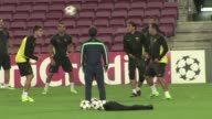 Barcelona train ahead of their Champions League clash with AC Milan on Wednesday CLEAN Barcelona train ahead of match with Milan on November 06 2013...