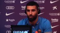 Barcelona's new Turkish midfielder Arda Turan attends a press conference for his presentation as new player of the Catalan club in Barcelona Spain on...