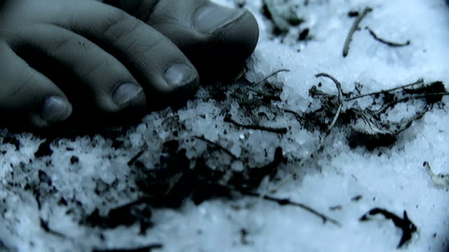 Bare feet on frozen ground