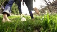 HD SUPER SLOW-MO: Barefoot Walk Through The Grass