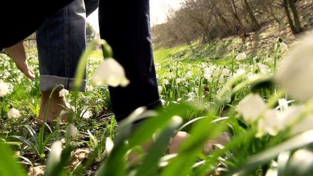 HD SUPER SLOW-MO: Barefoot Walking Through The Grass