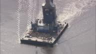 Barge Crane On River Weser Near Bremen