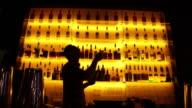 Barman making cocktail in bar in Belgium