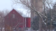 MS Barn and silo during snowstorm/ Hortonville, Wisconsin