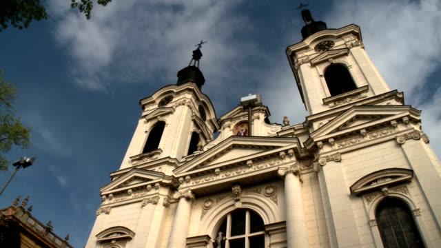 Baroque Serbian orthodox church with dramatic sky