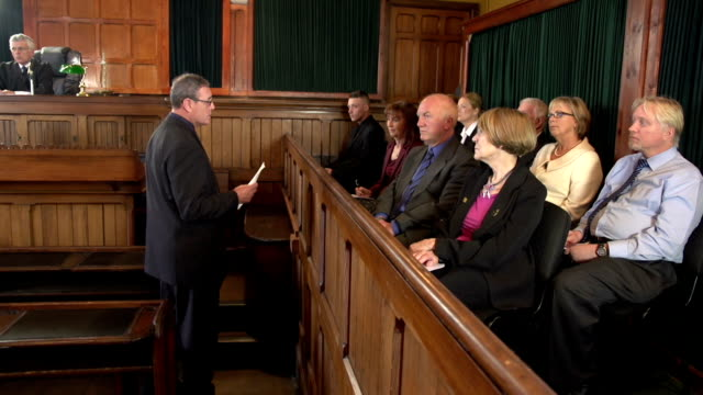 Barrister addresses the Jury in a Court - Two Shots