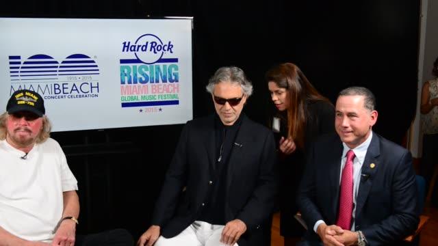 Barry Gibb Miami Beach Mayor Philip Levine Andrea Bocelli attends Miami Beach Announces Headline Performers for Mega Centennial Concert Celebration...