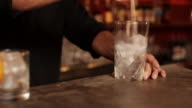 Bartender preparing ice for mixed drink