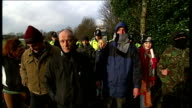Barton Moss antifracking protest ENGLAND Greater Manchester Eccles Barton Moss EXT Antifracking protesters / Placard in bush 'Thank you for the offer...