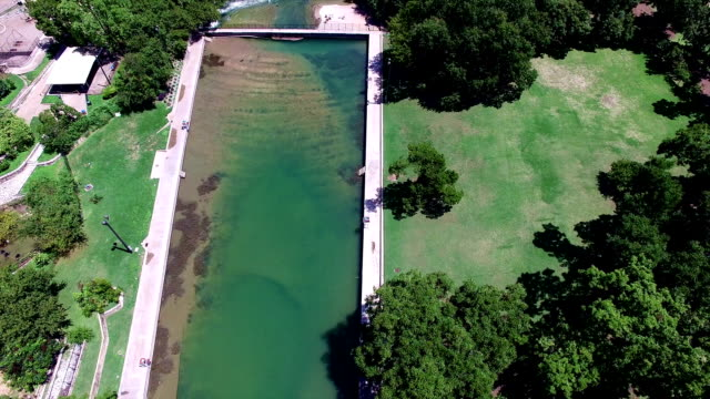 Barton Springs Pool a Natural Cold Spring Relaxing Swimming Pool of Austin Texas Close up of Pool