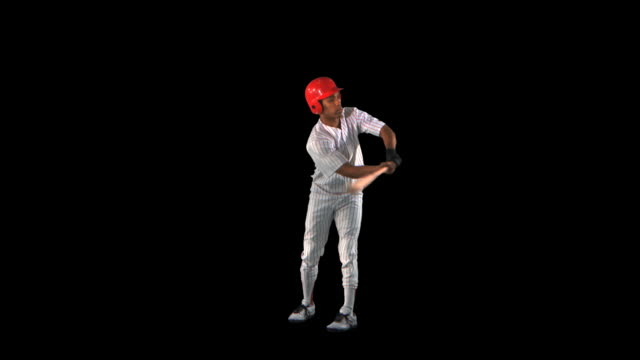Baseball Batter swinging profile - this clip has an embedded alpha-channel