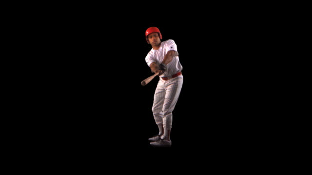 Baseball Batter swinging - this clip has an embedded alpha-channel