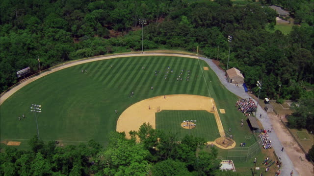 AERIAL WS Baseball field with players warming up