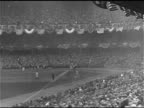 Baseball park field from left field stands CU New York Yankees pitcher Wilcy Moore CU Pittsburgh Pirates pitcher Carmen Hill TD WS PAN People sitting...