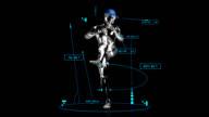 3D baseball pitcher man with technical data