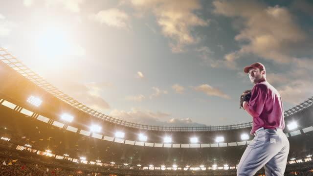Baseball pitcher throwing ball during game