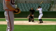 SLO MO MS Baseball pitcher throwing ball with batter, catcher and umpire in home base / Lancaster, California, USA