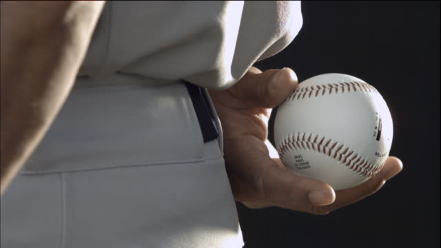 CU SLO MO Baseball player holding ball / Thousand Oaks, California, USA