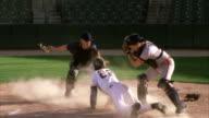 SLO MO MS PAN Baseball players in home base / Lancaster, California, USA