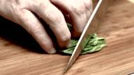 Basil Being Chopped