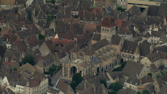 AERIAL WS Basilique Notre-Dame de Beaune and surrounding buildings / Beaune, France