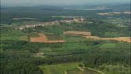 AERIAL WS Basilique Ste-Madeleine and town atop hill with surrounding landscape / Vezelay,France